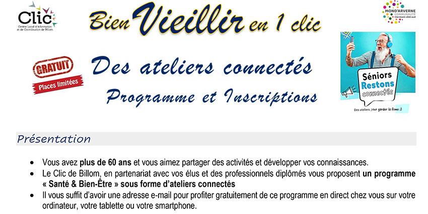 Inscriptions pour les ateliers connectés «Bien vieillir en 1 clic»